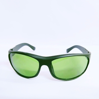 UV400 Wrap Around Unisex Green Polycarbonate Frame Unisex Sunglasses