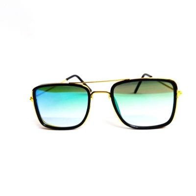 UV400 Green Lens Mercury Square Shape Silver Frame Unisex Sunglasses