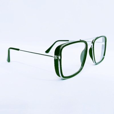 UV400 Square Clear Lens Silver Metal Frame Unisex Sunglasses