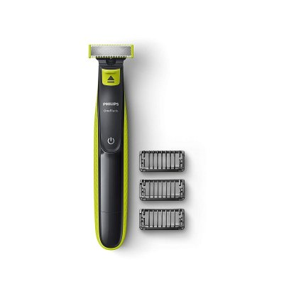 Philips OneBlade Hybrid Trimmer and Shaver with 3 Trimming Combs (Lime Green)