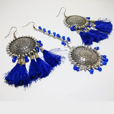 BB Trendz Fashionable Silver Oxidized Sun Shaped Light Weighted Tassle Earrings with Mangtika