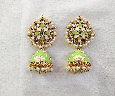 BB Trendz Metal Based Traditional Meenakari work with Kundan & Pearls Jhumki Earings