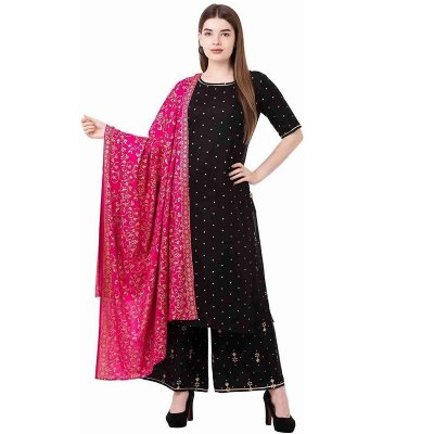 Rayon Straight Golden Printed Desgine Kurta And plazoo With duptta sets