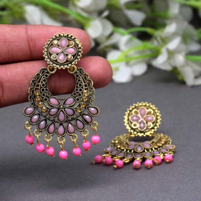 BB Trendz Pink Color Glass Stone Oxidised Earrings
