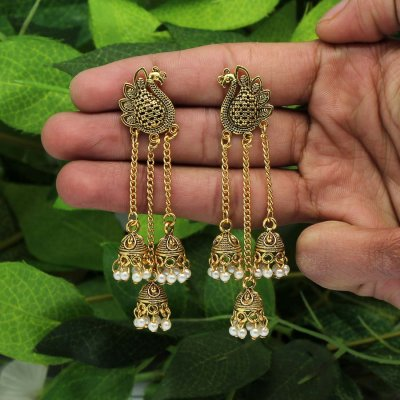 BB Trendz Gold Color Beads Oxidised Earrings