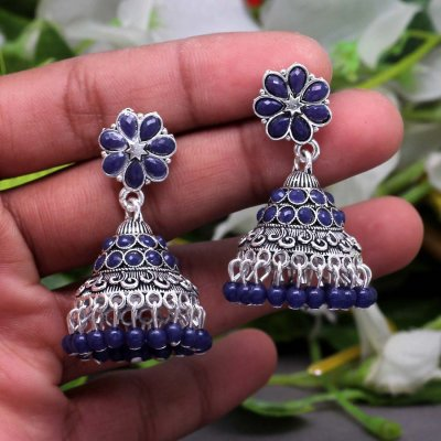 BB Trendz Blue Color Glass Stone Oxidised Earrings
