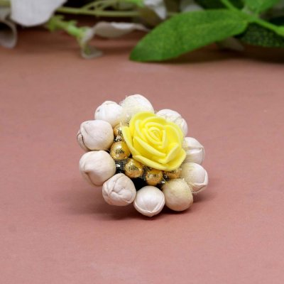 BB Trendz Yellow Color Floral Rings