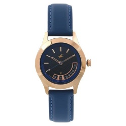 Fastrack All Nighters Blue Dial Leather Strap Watch for Women Blue